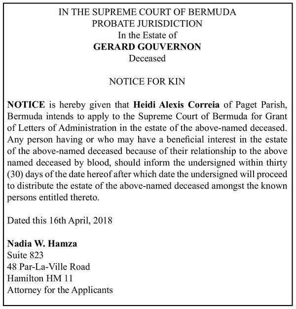 Estate of Gerard Gouvernon Notice of Kin