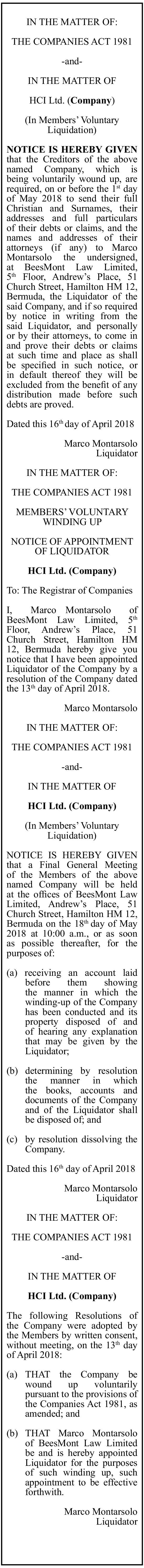 Liquidation Notices HCI Ltd.