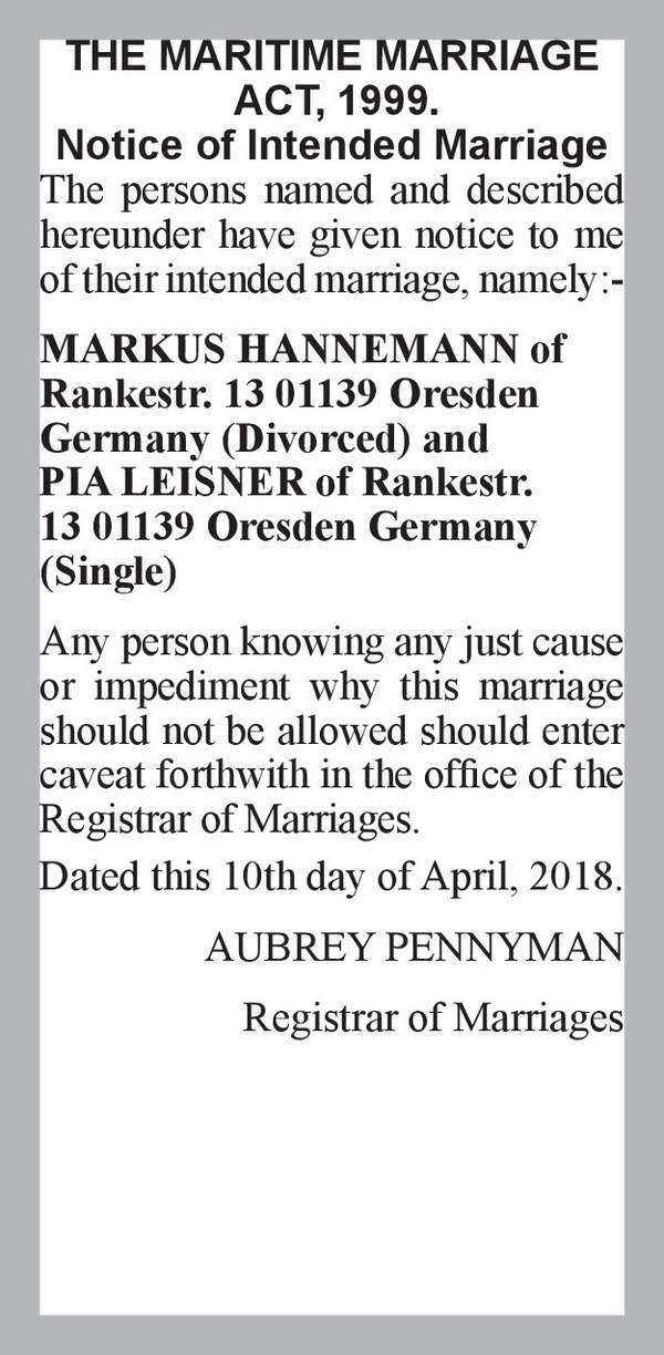 MARKUS HANNEMANN of Rankestr. 13 01139 Oresden Germany (Divorced) PIA LEISNER of Rankestr. 13 01139 Oresden Germany (Single) 10th April 2018