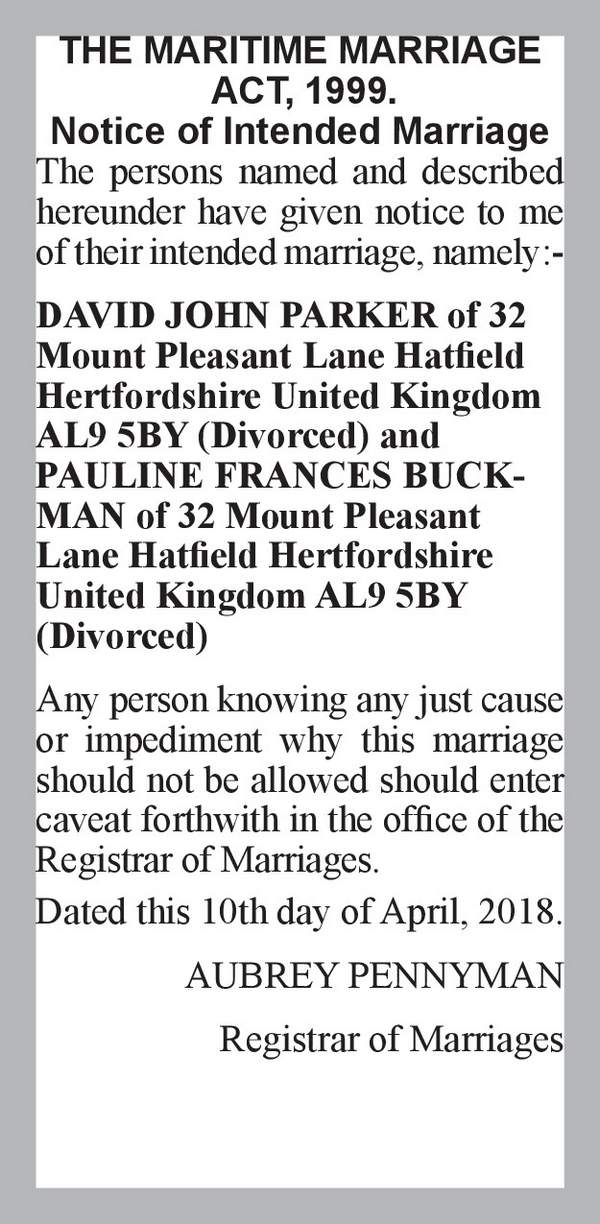 DAVID JOHN PARKER of 32 Mount Pleasant Lane Hatfield Hertfordshire United Kingdom AL9 5BY (Divorced) PAULINE FRANCES BUCKMAN of 32 Mount Pleasant Lane Hatfield Hertfordshire United Kingdom AL9 5BY (Divorced) 10th April 2018
