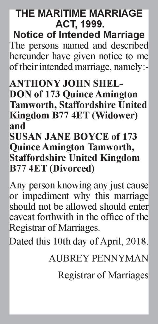ANTHONY JOHN SHELDON of 173 Quince Amington Tamworth, Staffordshire United Kingdom B77 4ET (Widower) SUSAN JANE BOYCE of 173 Quince Amington Tamworth, Staffordshire United Kingdom B77 4ET (Divorced) 10th April 2018