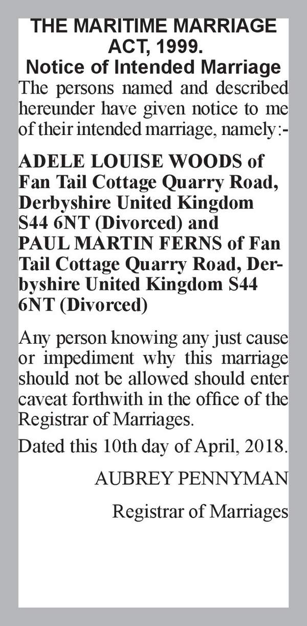 ADELE LOUISE WOODS of Fan Tail Cottage Quarry Road, Derbyshire United Kingdom S44 6NT (Divorced) PAUL MARTIN FERNS of Fan Tail Cottage Quarry Road, Derbyshire United Kingdom S44 6NT (Divorced) 10th April 2018