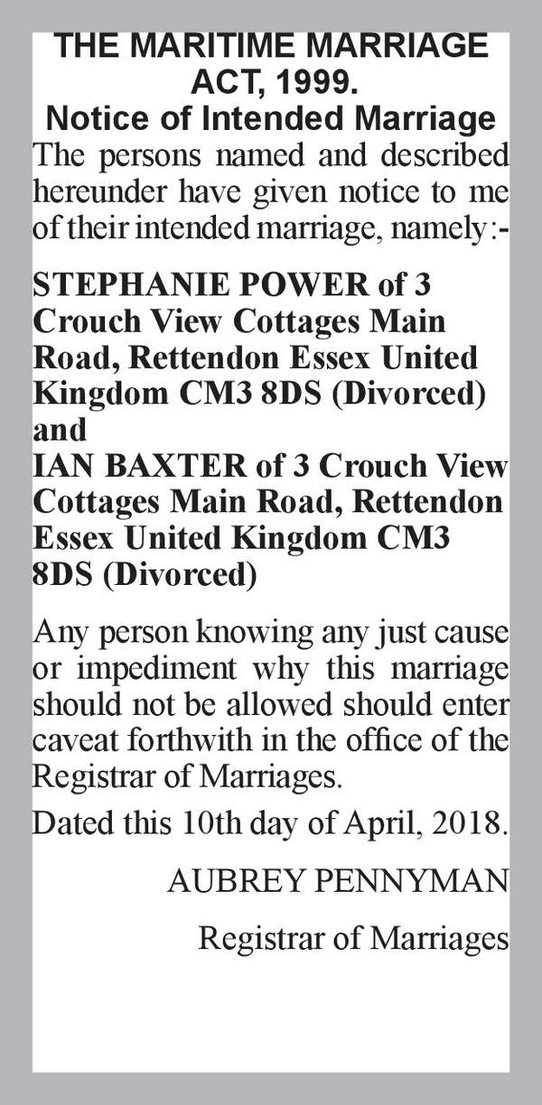 STEPHANIE POWER of 3 Crouch View Cottages Main Road, Rettendon Essex United Kingdom CM3 8DS (Divorced) IAN BAXTER of 3 Crouch View Cottages Main Road, Rettendon Essex United Kingdom CM3 8DS (Divorced) 10th April 2018