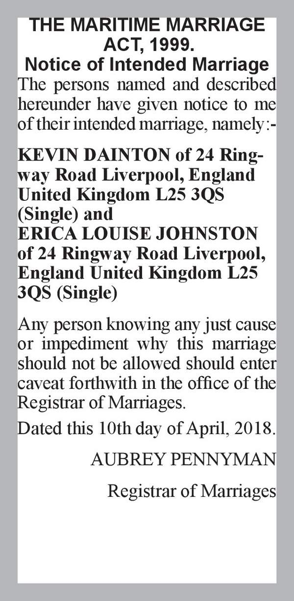 KEVIN DAINTON of 24 Ringway Road Liverpool, England United Kingdom L25 3QS (Single) ERICA LOUISE JOHNSTON of 24 Ringway Road Liverpool, England United Kingdom L25 3QS (Single) 10th April 2018