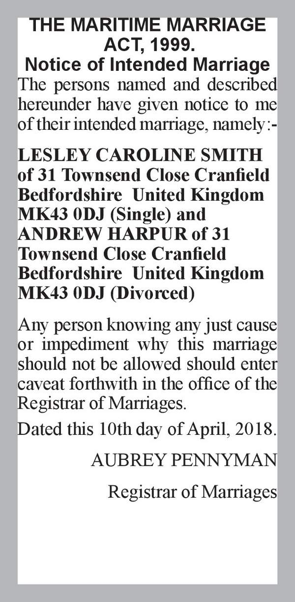LESLEY CAROLINE SMITH of 31 Townsend Close Cranfield Bedfordshire  United Kingdom MK43 0DJ (Single) ANDREW HARPUR of 31 Townsend Close Cranfield Bedfordshire  United Kingdom MK43 0DJ (Divorced) 10th April 2018