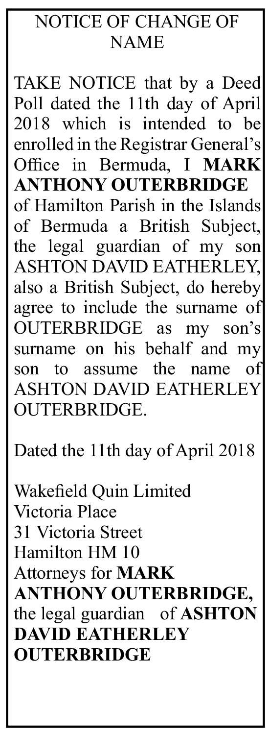 Ashton David Eatherley Outerbridge - Deed Poll