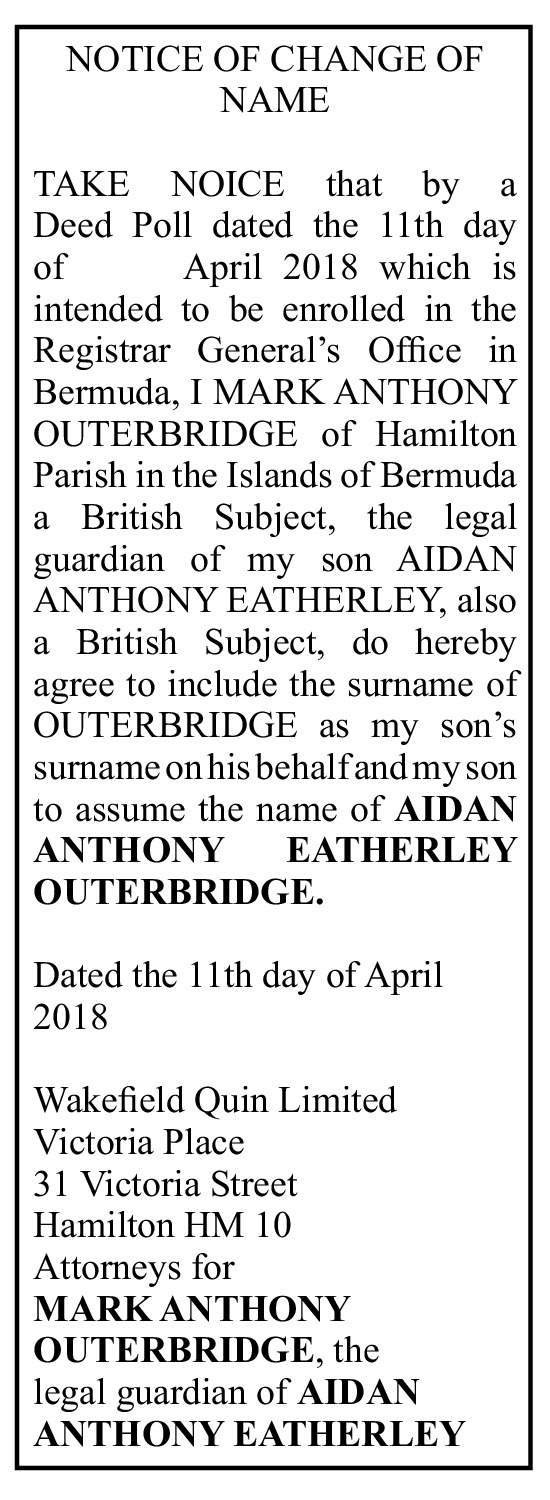 Aidan Anthony Eatherley Outerbridge- Deed Poll