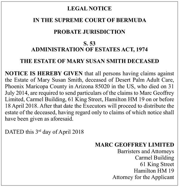 Notice for Claims Mary Susan Smith