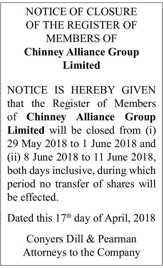 Chinney Alliance Group Limited